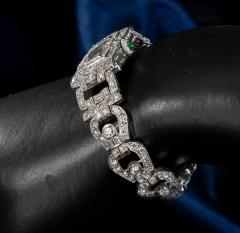 Longines Longines Platinum Art Deco 1920s 14 Carat Diamond Emerald Egyptian Revival Watch - 1731705
