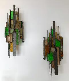 Longobard Pair of Hammered Glass Sconces by Longobard Italy 1970s - 1432446