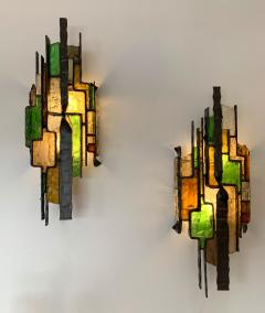 Longobard Pair of Hammered Glass Sconces by Longobard Italy 1970s - 1432447