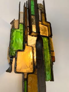 Longobard Pair of Hammered Glass Sconces by Longobard Italy 1970s - 1432448