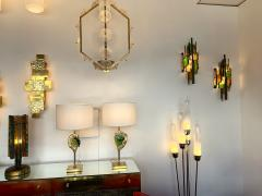 Longobard Pair of Hammered Glass Sconces by Longobard Italy 1970s - 1432451