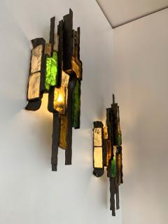 Longobard Pair of Hammered Glass Sconces by Longobard Italy 1970s - 1432452