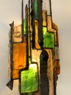 Longobard Pair of Hammered Glass Sconces by Longobard Italy 1970s - 1432455