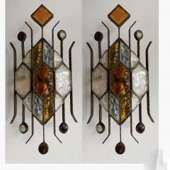 Longobard Pair of Hammered Glass Sconces by Longobard Italy 1970s - 1593411