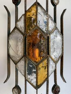 Longobard Pair of Hammered Glass Sconces by Longobard Italy 1970s - 1593414