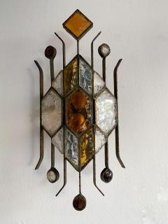 Longobard Pair of Hammered Glass Sconces by Longobard Italy 1970s - 1593415