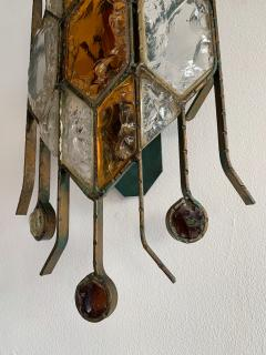 Longobard Pair of Hammered Glass Sconces by Longobard Italy 1970s - 1593416