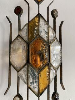 Longobard Pair of Hammered Glass Sconces by Longobard Italy 1970s - 1593418