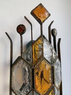 Longobard Pair of Hammered Glass Sconces by Longobard Italy 1970s - 1593421