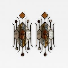 Longobard Pair of Hammered Glass Sconces by Longobard Italy 1970s - 1595059