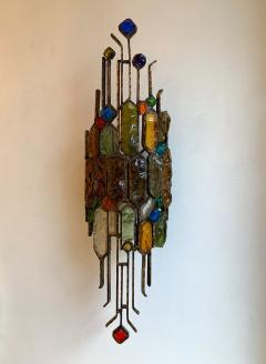Longobard Pair of Hammered Glass Wrought Iron by Longobard Italy 1970s - 1206903