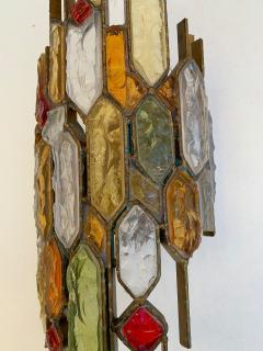 Longobard Pair of Hammered Glass Wrought Iron by Longobard Italy 1970s - 1206905