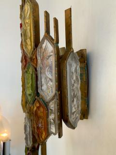 Longobard Pair of Hammered Glass Wrought Iron by Longobard Italy 1970s - 1206907