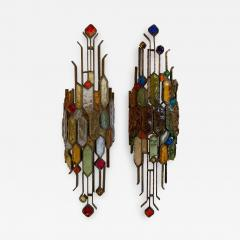 Longobard Pair of Hammered Glass Wrought Iron by Longobard Italy 1970s - 1207162
