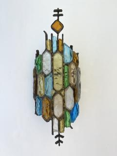 Longobard Pair of Hammered Glass and Gilt Iron Sconces by Longobard Italy 1970s - 1972496