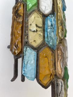 Longobard Pair of Hammered Glass and Gilt Iron Sconces by Longobard Italy 1970s - 1972497