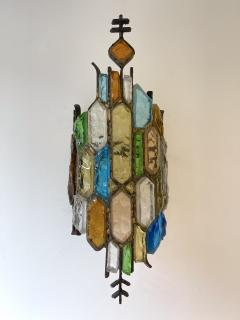 Longobard Pair of Hammered Glass and Gilt Iron Sconces by Longobard Italy 1970s - 1972498