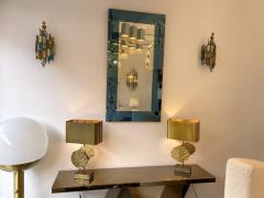 Longobard Pair of Hammered Glass and Gilt Iron Sconces by Longobard Italy 1970s - 1972502