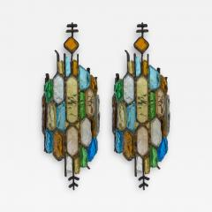 Longobard Pair of Hammered Glass and Gilt Iron Sconces by Longobard Italy 1970s - 1973578