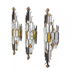Longobard SET OF 3 HAMMERED GLASS WALL LIGHTS BY LONGOBARD - 1811917