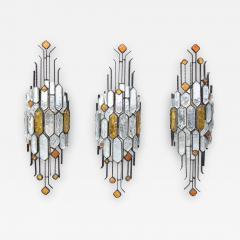 Longobard SET OF 3 HAMMERED GLASS WALL LIGHTS BY LONGOBARD - 1813722