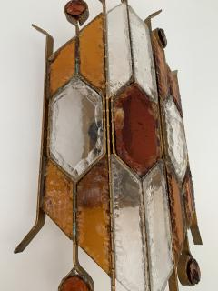 Longobard Sconce Hammered Glass by Longobard Italy 1970s - 1395804