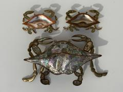 Los Castillo Mexican Brass and Abalone Crab Family Serving Dish - 1771999