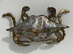 Los Castillo Mexican Brass and Abalone Crab Family Serving Dish - 1772000