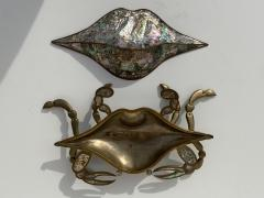 Los Castillo Mexican Brass and Abalone Crab Family Serving Dish - 1772001