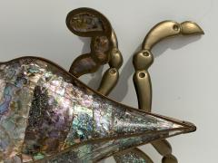 Los Castillo Mexican Brass and Abalone Crab Family Serving Dish - 1772007
