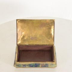 Los Castillo Mid Century Mexican Modernist Malachite Brass Small Trinket Box - 884492