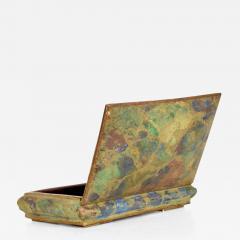 Los Castillo Mid Century Mexican Modernist Malachite Brass Small Trinket Box - 884708