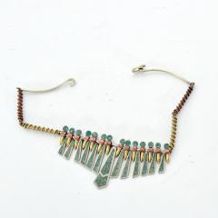 Los Castillo Mixed Metal MALACHITE Mosaic Choker Fringe Bib NECKLACE Mexican Modernist 1960s - 1498511
