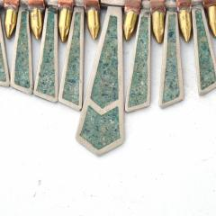Los Castillo Mixed Metal MALACHITE Mosaic Choker Fringe Bib NECKLACE Mexican Modernist 1960s - 1498518