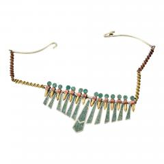Los Castillo Mixed Metal MALACHITE Mosaic Choker Fringe Bib NECKLACE Mexican Modernist 1960s - 1500287