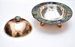 Los Castillo Pair of Silver Plated Hand Made Bowls with Glass Mosaic Inlay - 151230