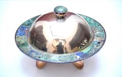 Los Castillo Pair of Silver Plated Hand Made Bowls with Glass Mosaic Inlay - 151232