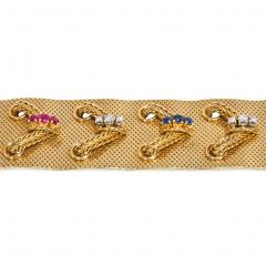 Lotos 1950s Woven Gold and Gemset Laced Design Bracelet Lotos Germany - 1224170