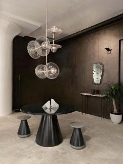 Lumifer by Javier Robles Stellar 6 Point Vertical Pendant Custom Polished Brass and Hand Blown Glass - 1857645