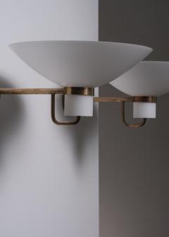 Lyfa Pair of Lyfa brass and opaline glass wall lamps - 2006260