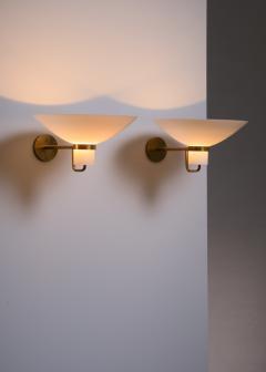 Lyfa Pair of Lyfa brass and opaline glass wall lamps - 2006262