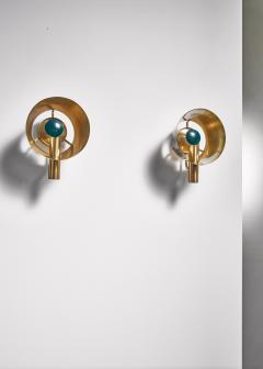 Lyfa Pair of brass Lyfa wall lamps Denmark 1960s - 981427