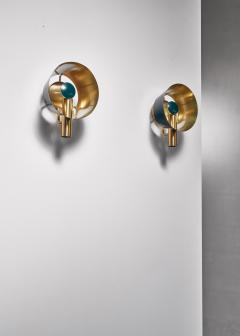 Lyfa Pair of brass Lyfa wall lamps Denmark 1960s - 981428
