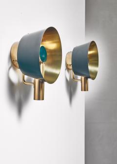 Lyfa Pair of brass Lyfa wall lamps Denmark 1960s - 981429