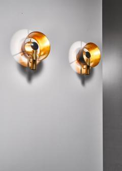 Lyfa Pair of brass Lyfa wall lamps Denmark 1960s - 981430