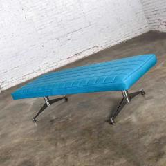 Madison Furniture MCM vinyl faux leather turquoise chrome bench daybed style of arthur umanofF - 1938834