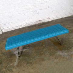 Madison Furniture MCM vinyl faux leather turquoise chrome bench daybed style of arthur umanofF - 1938836