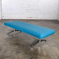 Madison Furniture MCM vinyl faux leather turquoise chrome bench daybed style of arthur umanofF - 1938837