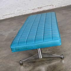 Madison Furniture MCM vinyl faux leather turquoise chrome bench daybed style of arthur umanofF - 1938849