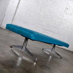 Madison Furniture MCM vinyl faux leather turquoise chrome bench daybed style of arthur umanofF - 1938850